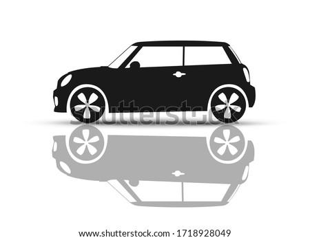 Car Vehicle Mini Back and White British hatchback logo illustration ストックフォト ©