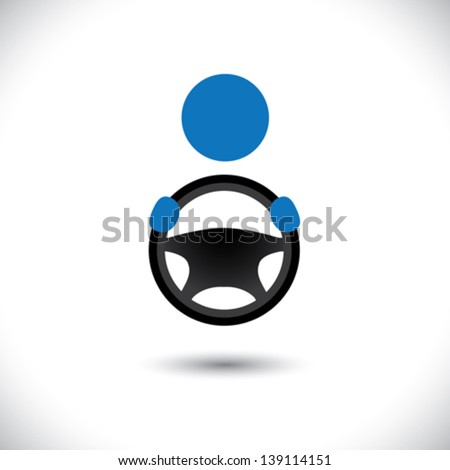 Car, vehicle or automobile driver icon or symbol- vector graphic. This logo template shows a cabbie icon with his hand holding the steering wheel