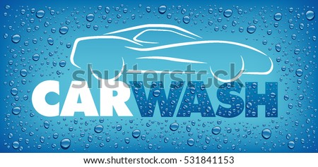 car wash design with many water drops