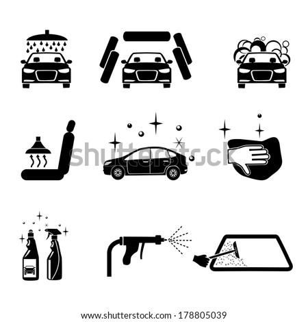 Royalty Free Car Wash Vector Icons Set On Gray 279538673 Stock