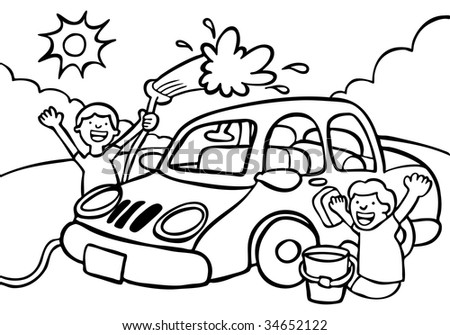 car wash fundraiser line art