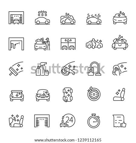 Car wash, icon set. Carwash, automatic and self service. linear icons. Line with editable stroke