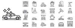 Car wash icons set. Outline set of car wash vector icons for web design isolated on white background