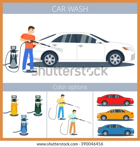car wash illustration man