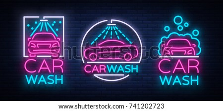 Car wash logo set vector design in neon style vector illustration isolated. Template, concept, luminous signboard icon on a car wash theme. Luminous banner