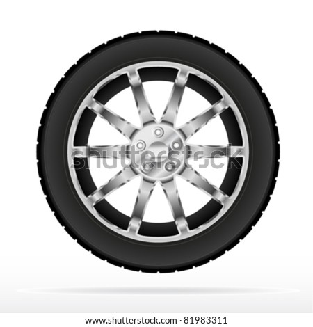 Car wheel and tyre - stock vector