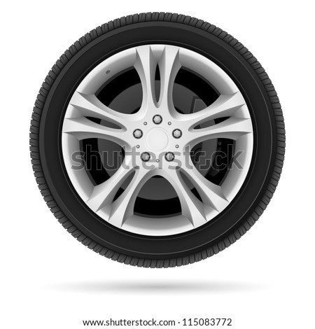Car wheel. Illustration on white background for design - stock vector