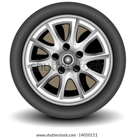 Car wheel in details on white background with shadow, vector, illustration
