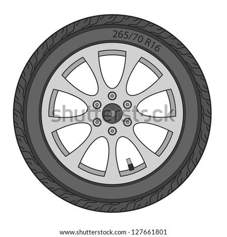 Car Wheel, vector illustration - stock vector