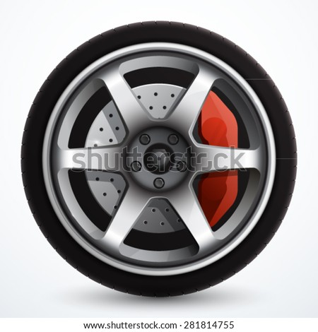 car wheel with brake gear
