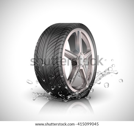 car wheel with splashing water