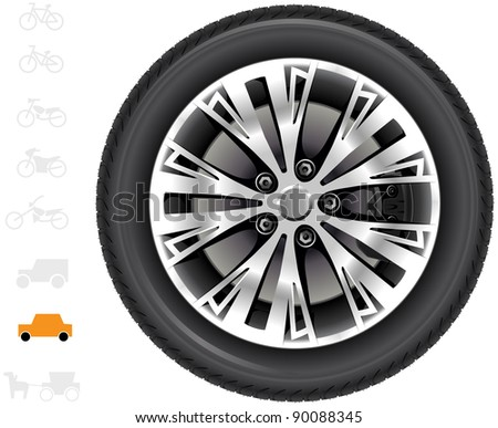 Car wheels. The series of the detailed wheels of the different vehicles: passenger cars, light trucks, vans, tractors.