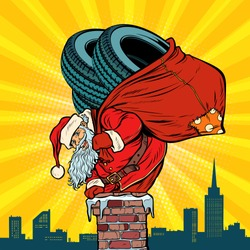 car winter tires. Santa Claus with gifts climbs into the chimney. Christmas and new year. Pop art retro vector illustration vintage kitsch