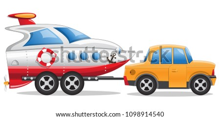 Car with a boat trailer. Side view. Isolated on white background. Vector illustration.