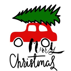 Car with a christmas tree. Merry Christmas. Handwritten modern brush lettering.