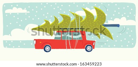 car with a christmas tree on