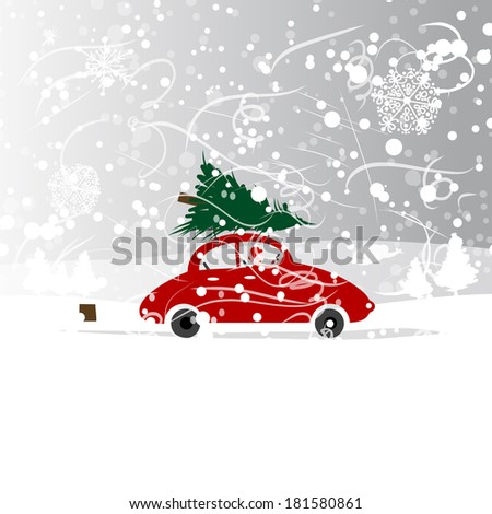 car with christmas tree  winter