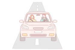 Car with driver man. Hand drawn style vector design illustrations.