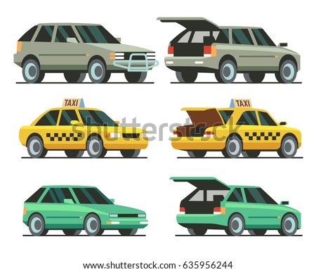 Car with open trunk and closed trunk. SUV car, taxi, passenger car. Isolated on white background. Vector Illustration.