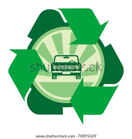 Car with recycle sign, vector illustration