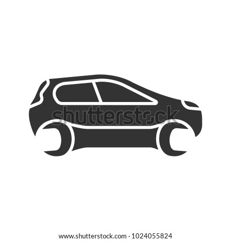 Car with spanner glyph icon. Silhouette symbol. Negative space. Repair service. Auto workshop. Vector isolated illustration