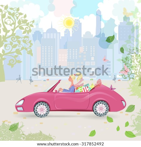 car woman in pink convertible