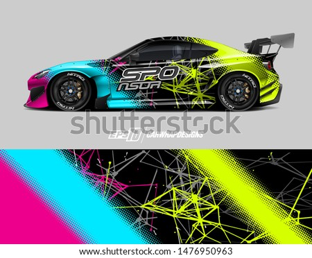 Car wrap decal design concept. Abstract grunge background for wrap vehicles, race cars, cargo vans, pickup trucks and car livery.
