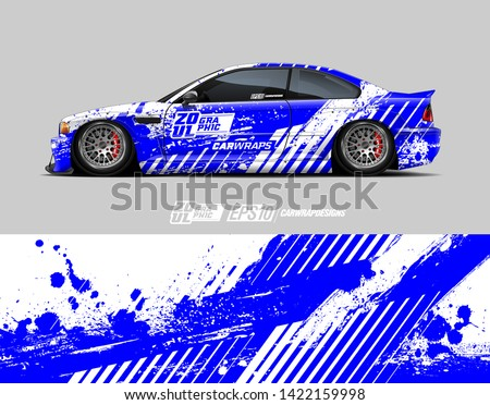 Car wrap decal design concept. Abstract line speed with grunge background for wrap vehicle, race car, cargo van, pickup truck, and livery.