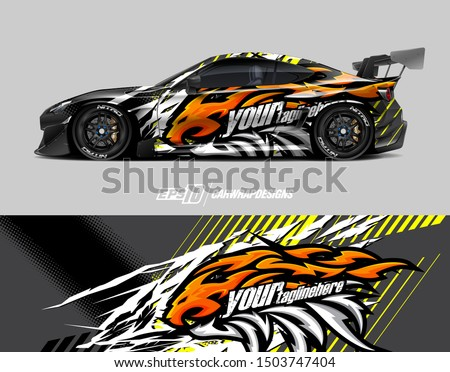Car wrap decal graphics. Lion head tribal illustration. Abstract racing and sport background for racing livery or daily use car vinyl sticker.