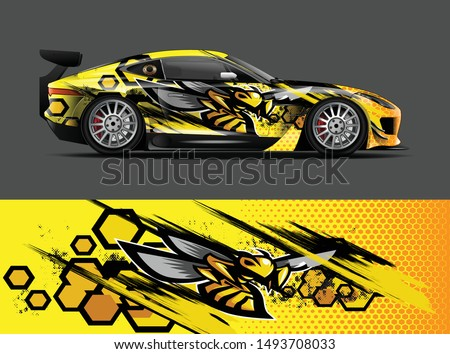 car wrap, decal, vinyl sticker designs concept. auto design geometric stripe bee background for wrap vehicles, race cars, cargo vans, pickup trucks and livery. racing or daily use