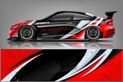 Car wrap design vector, truck and cargo van decal. Graphic abstract stripe racing background designs for vehicle, rally, race, adventure and car racing livery