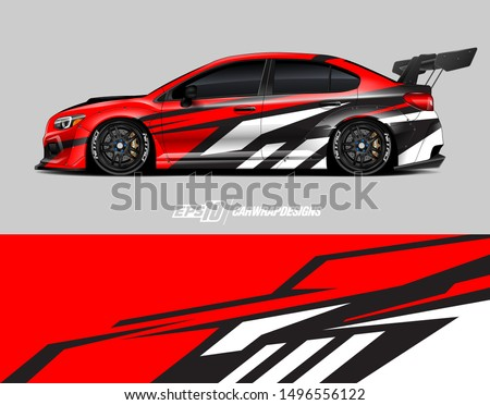Car wrap graphic. Abstract racing strip and background for racing livery or daily use car vinyl sticker.