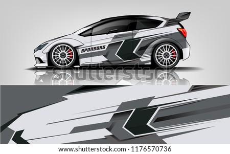 Car wrap.  modern racing car wrap strip for sedan and hatchback. vector eps10.