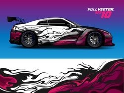 car wrap or decal design. stripe and grunge abstract design for adventure, livery, racing, signage, and daily use car. ready to print out vinyl sticker