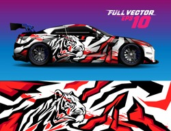 car wrap or decal vinyl sticker design. abstract tiger animal background concept for racing, livery, signage and daily use car.