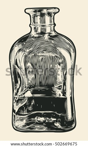 carafe with whiskey. hand drawn ...