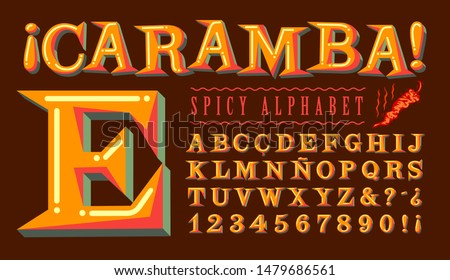 "Caramba Spicy Alphabet is a lively Hispanic-flavored font. Translation: The word ""caramba"" is a Spanish language expression of surprise or amazement with no direct translation in English."