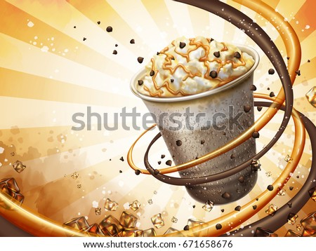 Shutterstock Caramel mocha cocoa smoothie background, freeze iced drink with cream, chocolate beans and caramel topping, 3d illustration