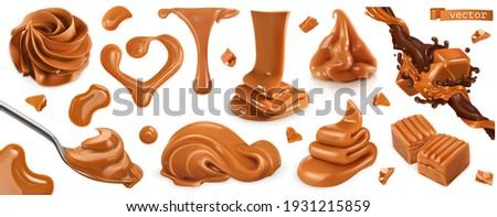 Caramel, peanut butter. 3d vector realistic set Сток-фото ©
