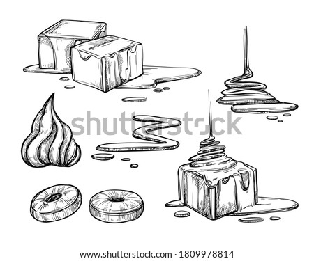 Caramel sauce and candy set. Isolated flat hand drawn sweet dessert food collection. Toffee cube sketches. Pouring liquid sugar caramel sauce cream vector illustration