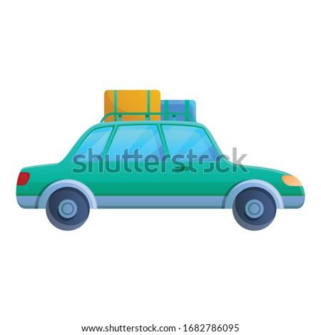 caravan car trip icon cartoon