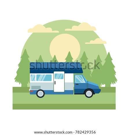 Caravan car vehicle In the forest