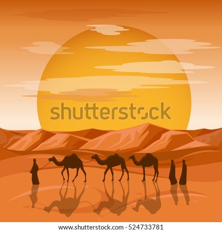 caravan in desert vector