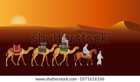 caravan in the desert against