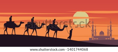 caravan Muslim ride camel to mosque of Dubai on sunset time,the tradition of Arabian,silhouette design,vector illustration