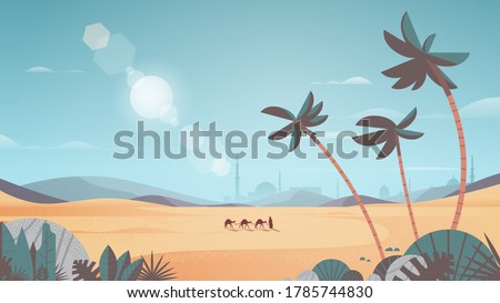 caravan of camels going through