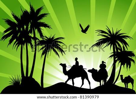 caravan of camels in a black oasis