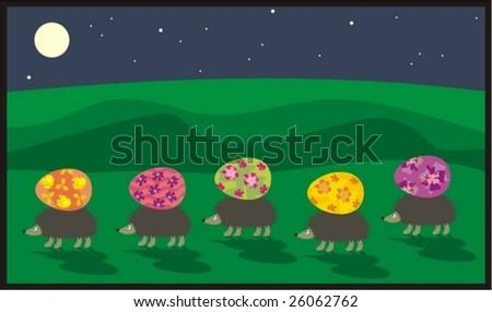 Caravan of hedgehogs with easter eggs