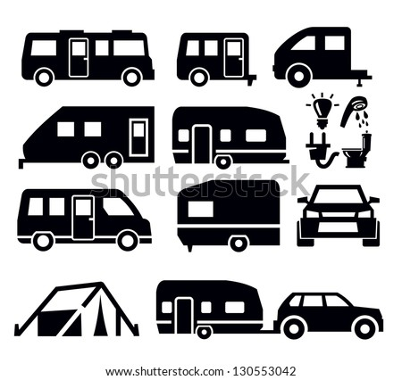 Caravan or camper van icons on white