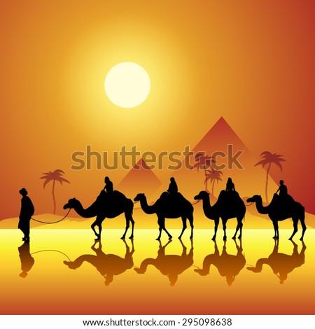 caravan with camels in desert
